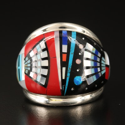 Sterling Inlaid Mother of Pearl, Opal and Gemstone Ring