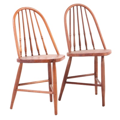 Two American Primitive Spindle-Back Tripod Side Chairs, Late 19th/Early 20th C.