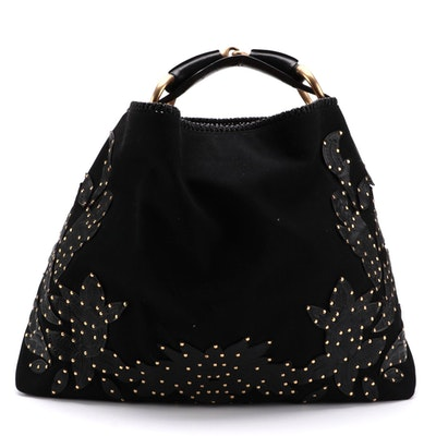 Gucci Horsebit Strap Hobo Bag with Studded Tooled Leather Appliqué