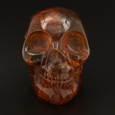 Carved Amber Skull