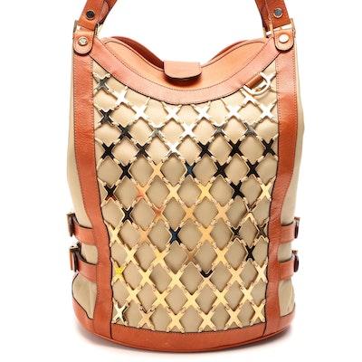 Versace Bucket Bag in Cognac and Tan Leather