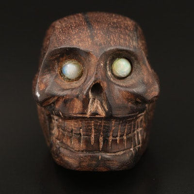 Carved Wood and Opal Skull
