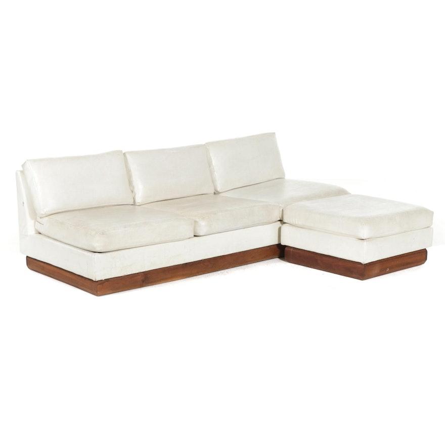 Shawnee-Penn Mid Century Modern Naugahyde Upholstered Floating Sofa and Ottoman