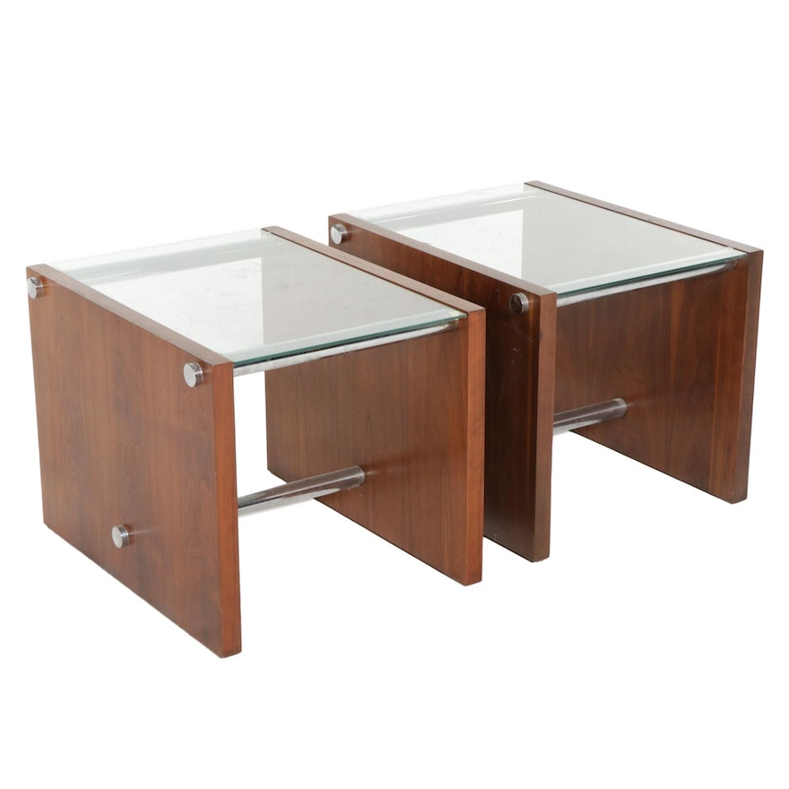 Pair of Contemporary Teak and Glass Side Tables