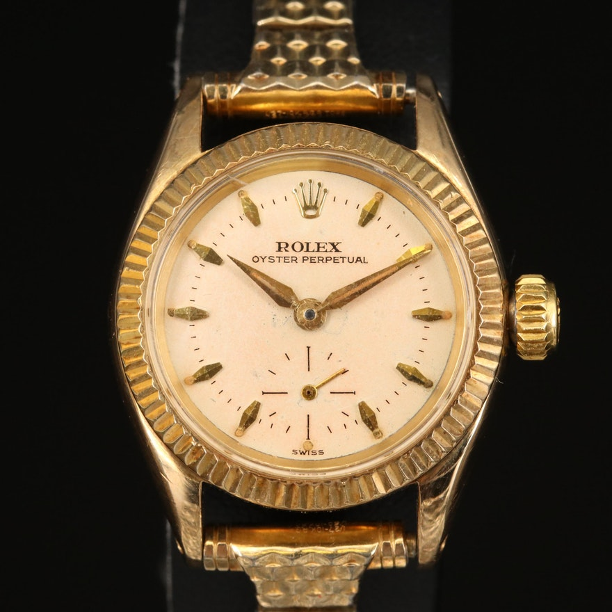 1956 Rolex Oyster Perpetual 6509 14K Gold Automatic Wristwatch