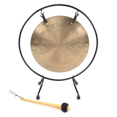 Chinese Style Brass and Metal Gong Set with Frame and Mallet