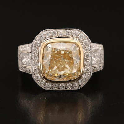 18K 6.29 CTW Diamond Ring with Milgrain and Scroll Accents