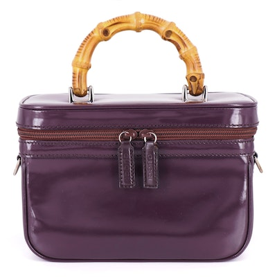 Gucci Bamboo Handle Vanity Case in Aubergine Glazed Leather