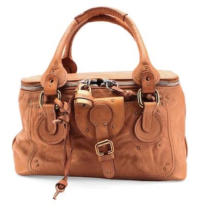 Chloé Paddington Vanity Bag in Saddle Brown Calfskin Leather