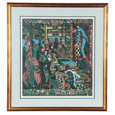 "Mark Mulfinger Reduction Linocut ""Orchestra,"" Late 20th Century"