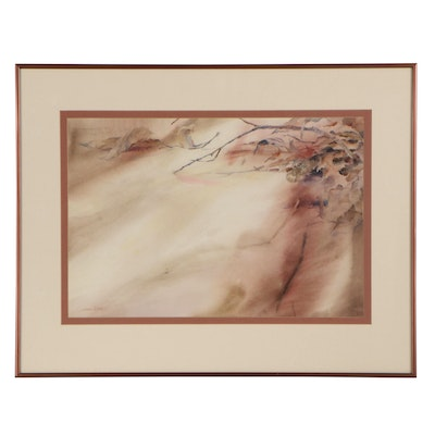 Joan Rothel Watercolor Painting of Leaves, Late 20th Century