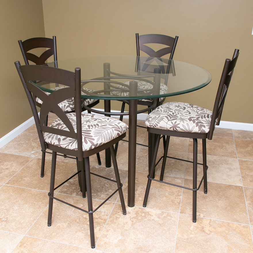 Amisco High-Top Glass and Metal Table with Four Bronze-Tone Metal Stools