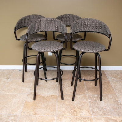Four Amisco Bronze-Tone Metal Swivel Seat Barstools with Removable Back Covers
