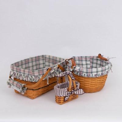 Longaberger Handwoven Maple Apple Basket, Picnic Basket and Decorative Basket