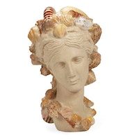 Neoclassical Style Painted Composite Bust with Shell Accents