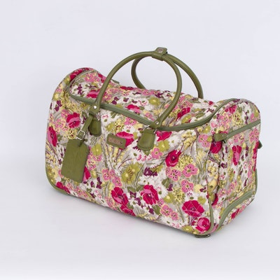 "Vera Bradley ""Make Me Blush"" Quilted Textile Rolling Duffel Bag"