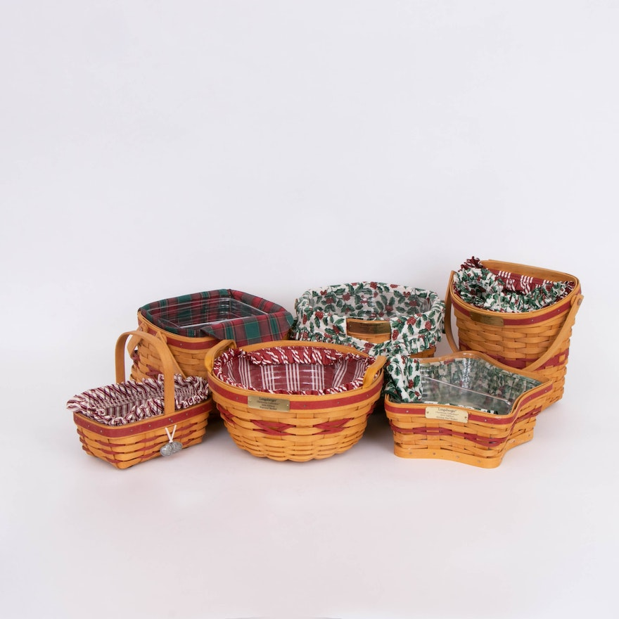 Longaberger Handwoven Maple Christmas Collection Baskets