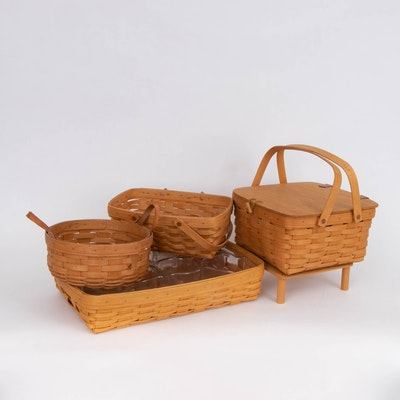 Longaberger Handwoven Maple Hostess Serving Tray, Pie Basket and Other Baskets
