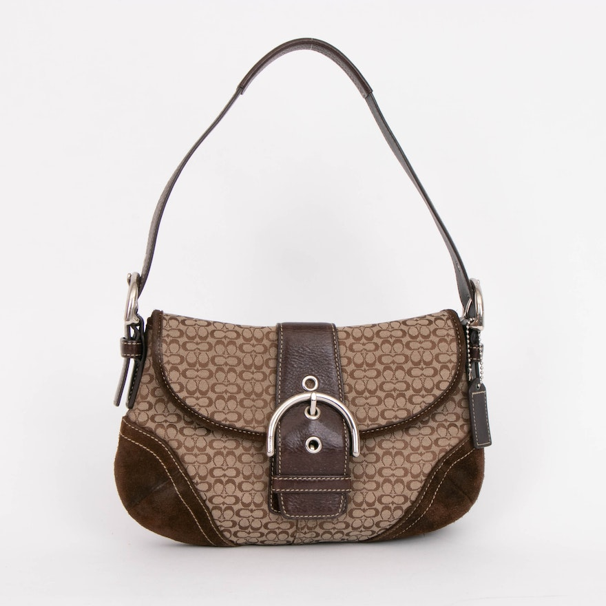 Coach Mini Soho Bag in Signature Canvas and Brown Leather