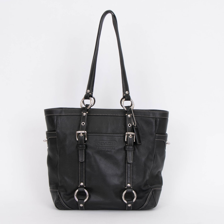 Coach Gallery Black Leather Lunch Tote Handbag with Contrast Stitching