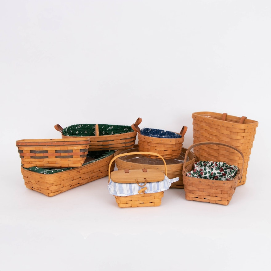 Longaberger Handwoven Maple Serving Basket, Bread Basket with Brick and More