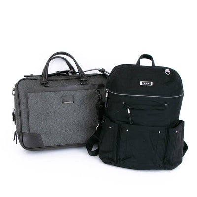 TUMI Astor Ansonia Zip Top Coated Canvas Briefcase and Nylon Backpack