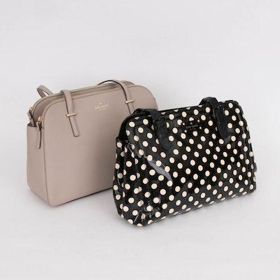 Kate Spade New York Polka Dot Patent Leather Handbag and Taupe Saffiano Handbag