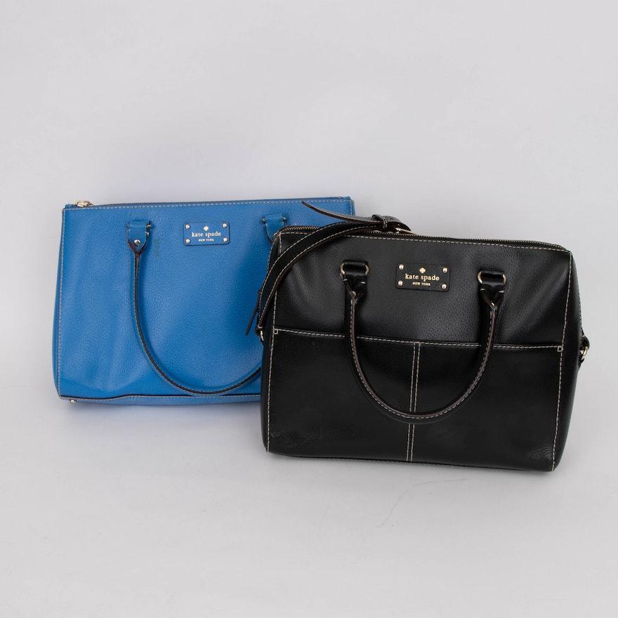 Kate Spade New York Black Leather Satchel and Azure Blue Leather Shoulder Bag