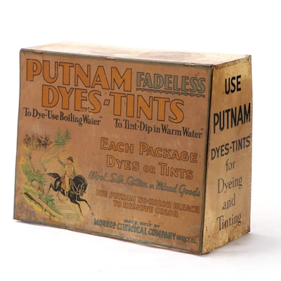 """Monroe Chemical Co. """"Putnam Fadeless Dyes-Tints"""" Lithographed Tin Store Display"""