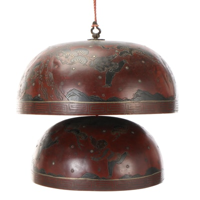 Chinese Hand-Painted Brass Graduated Hanging Bells