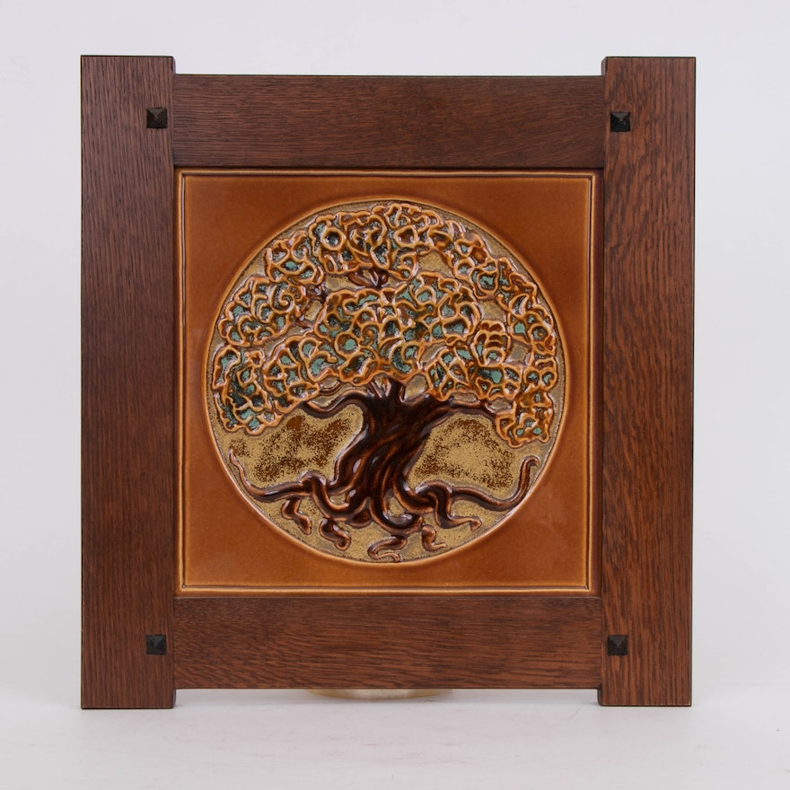 """Rookwood Pottery Hand-Painted """"Tree of Life"""" Tile Framed Wall Plaque, 2011"""