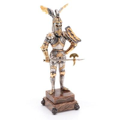 Anna Danesin Gilt and Silvered Bronze Knight Figurine on Onyx Base