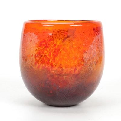 Artist Signed Orange Flecked  Art Glass Bowl, 21st Century