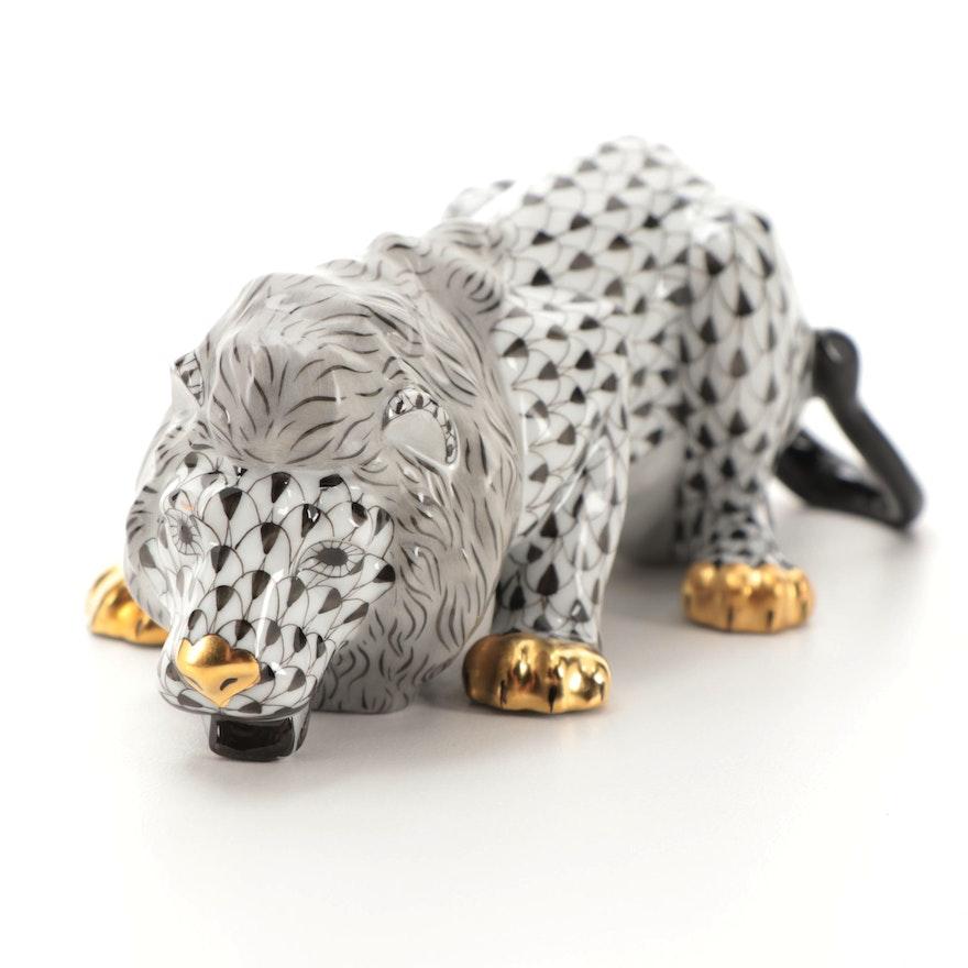 """Herend Black Fishnet with Gold """"Drinking Lion"""" Porcelain Figurine, October 2001"""