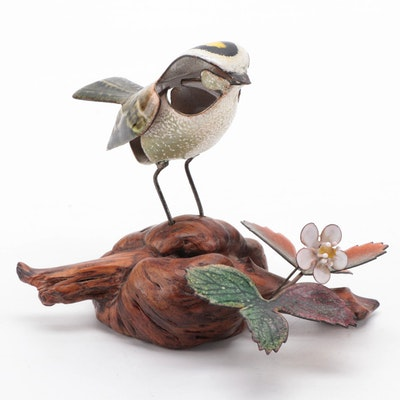 Norman Brumm Enameled Metal Bird Figurine on Burl Wood Stand
