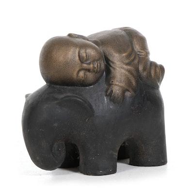 Shaolin Monk on Elephant Garden Statue, Contemporary