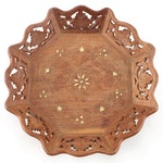 Indian Hand-Carved Teak Wood Bowl with Brass Inlay, Mid to Late 20th Century