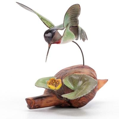 Norman Brumm Enameled Metal Hummingbird Figurine on Burl Wood Stand
