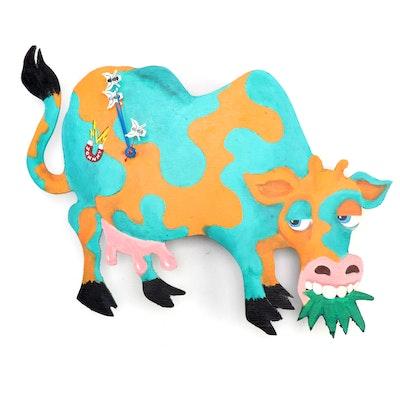 """John Mangus Folk Art Clock Sculpture """"Cow,"""" 1998"""