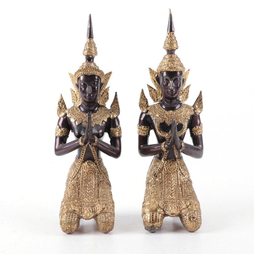 Thai Guardian Angel Theppanom Brass Figurines, Vintage