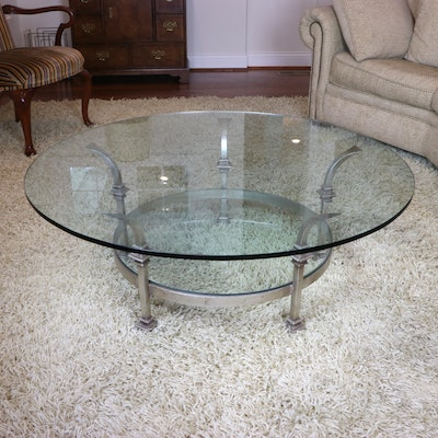 Contemporary Metal and Glass Top Coffee Table