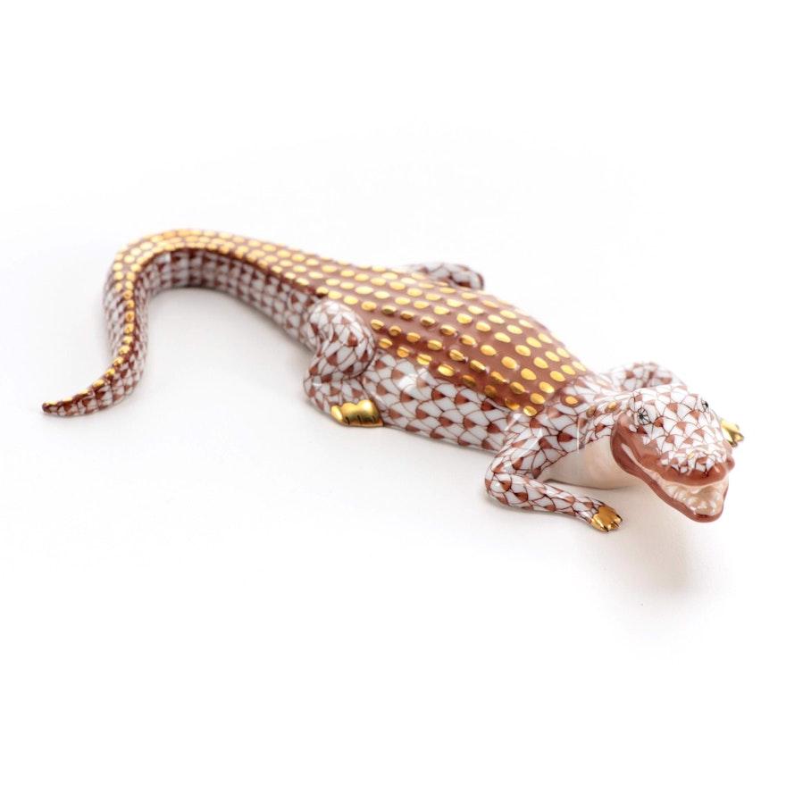 "Herend Rust Fishnet with Gold ""Alligator"" Porcelain Figurine"