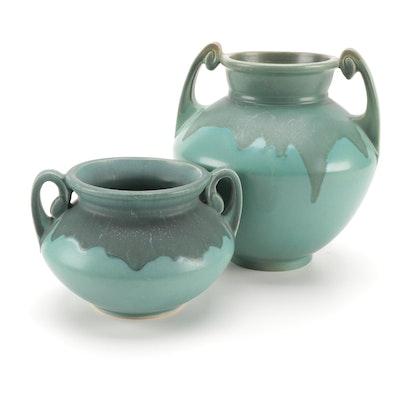 "Roseville Pottery ""Carnelian"" Blue Drip Glaze Amphora Shaped Vases, circa 1910"