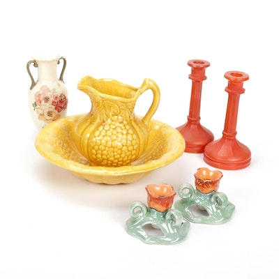 Ceramic and Glass Candlesticks, Decorative Bowl and Pitcher