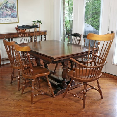 Colonial Style Draw Leaf Table and Frederick Duckloe & Bros. Chairs