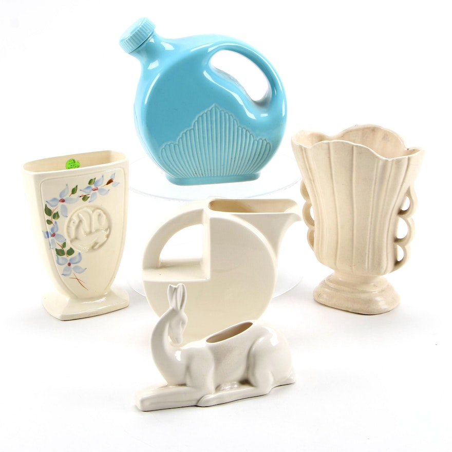 Erphila Ceramic Pitcher with Refrigerator Pitcher and Other Pottery Vases