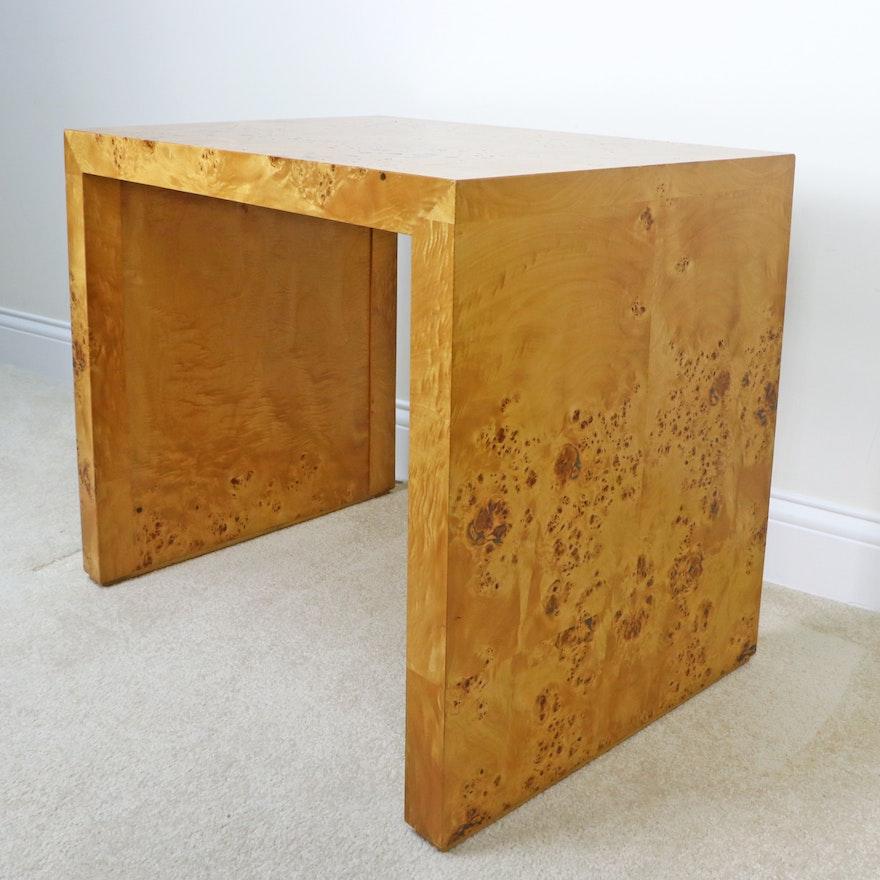 Modernist Style Burl Wood Veneered Side Table