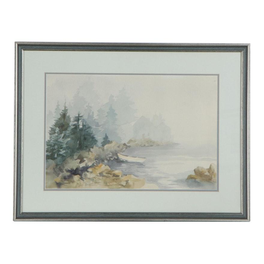 Barbara Carskadon Landscape Watercolor Painting, Late 20th Century