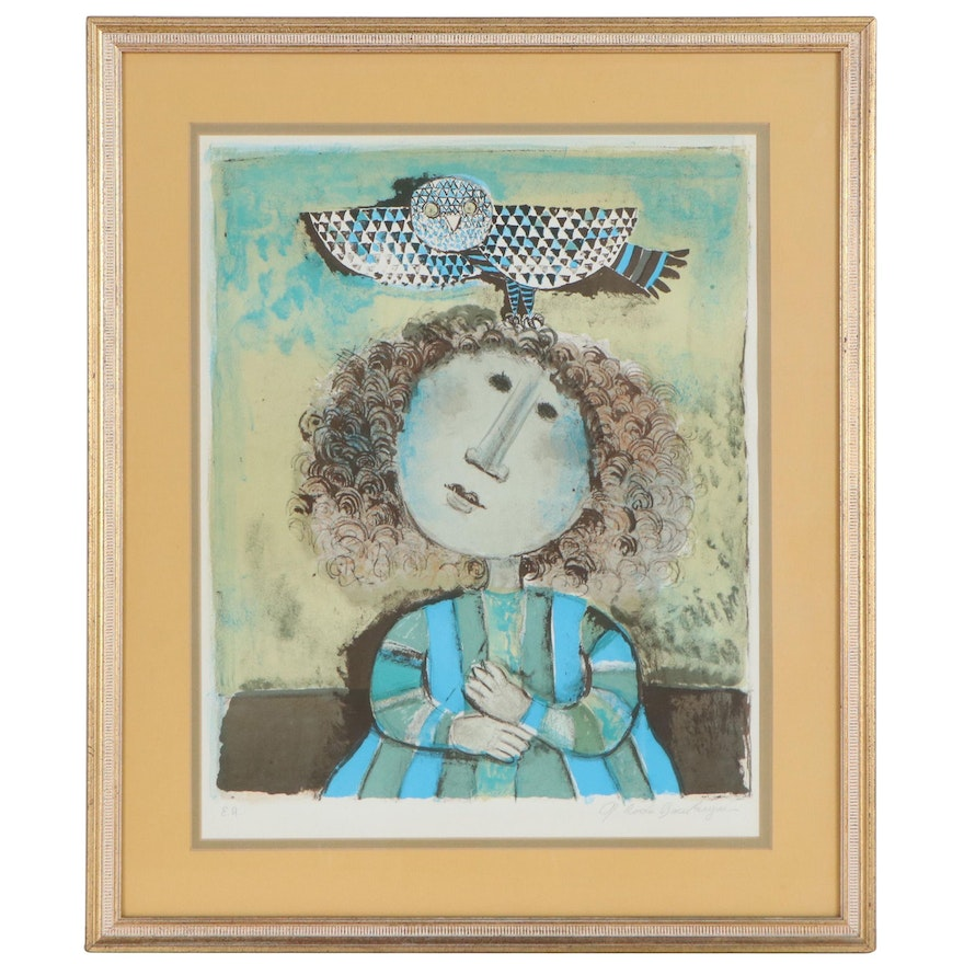 Graciela Rodo Boulanger Lithograph of Young Girl, Late 20th Century