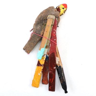 Rick Borg Folk Art Bird Assemblage Sculpture